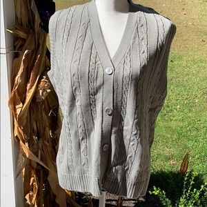 Large Sara Morgan Gray Button Down Sweater Vest
